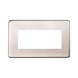 2 Gang 4 Module Euro Plate in Satin Nickel Screwless Flat Plate Heritage Brass PL.Y05.2694.G
