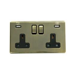 2 Gang 13A Socket with 2 USB Sockets Antique Brass Screwless Plate Black Insert