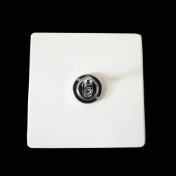 Screwless Primed White 1 Gang 2 Way 20A Chrome Dolly Switch on a Paintable Flat Plate