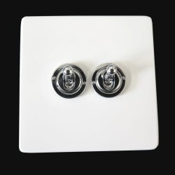 Screwless Primed White 2 Gang 2 Way 20A Chrome Dolly Switch on a Paintable Flat Plate