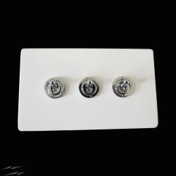 Screwless Primed White 3 Gang 2 Way 20A Chrome Dolly Switch on a Paintable Flat Plate