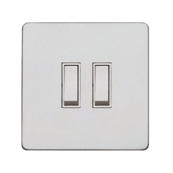 Screwless Primed White 2 Gang Intermediate 20A Grid Switch, White Plastic Rockers on a Paintable Flat Plate