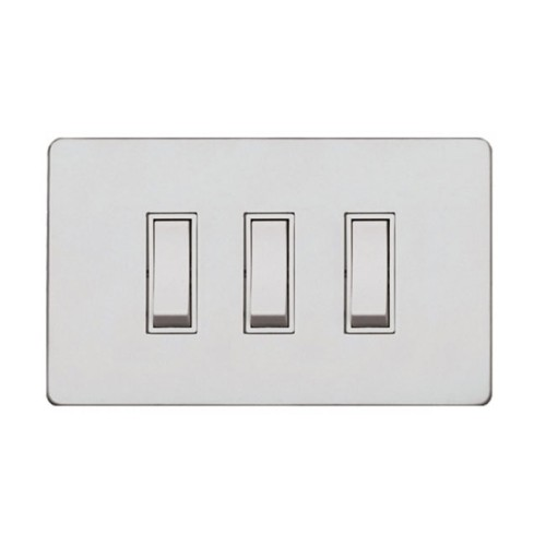 Screwless Primed White 3 Gang 2 Way 20A Grid Switch, White Plastic Rockers on a Paintable Flat Plate