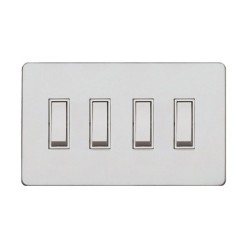 Screwless Primed White 4 Gang 2 Way 20A Grid Switch, White Plastic Rockers on a Paintable Flat Plate