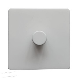 Screwless Primed White 1 Gang 2 Way 400W Push ON/OFF Dimmer Switch on a Paintable Flat Plate