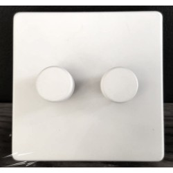 Screwless Primed White 2 Gang 2 Way 10-120W Trailing Edge LED Dimmer on a Paintable Flat Plate