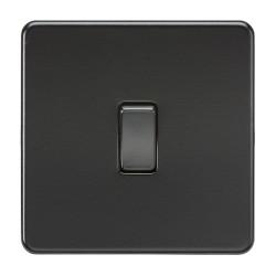 1 Gang 10AX Intermediate Switch Screwless Matt Black Plate with Black Rocker Low Profile, Knightsbridge SF1200MBB