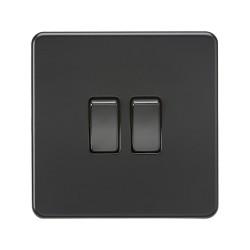 2 Gang 2 Way 10A Twin Switch Screwless Matt Black Flat Metal Plate Knightsbridge SF3000MBB