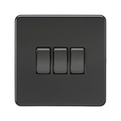3 Gang 2 Way 10A Triple Switch Screwless Matt Black Flat Metal Plate Knightsbridge SF4000MBB