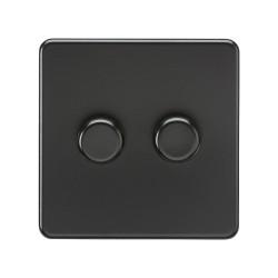 2 Gang 2 Way 10-200W Dimmer / 5-150W Trailing Edge LED Dimmer Screwless Matt Black Flat Metal Plate Knightsbridge SF2182MBB