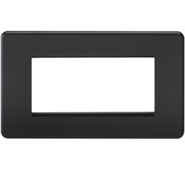 4 Gang Euro Plate Screwless Matt Black Flat Metal Plate Knightsbridge SF4GMB