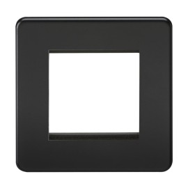 2 Gang Euro Plate Screwless Matt Black Flat Metal Plate Knightsbridge SF2GMW