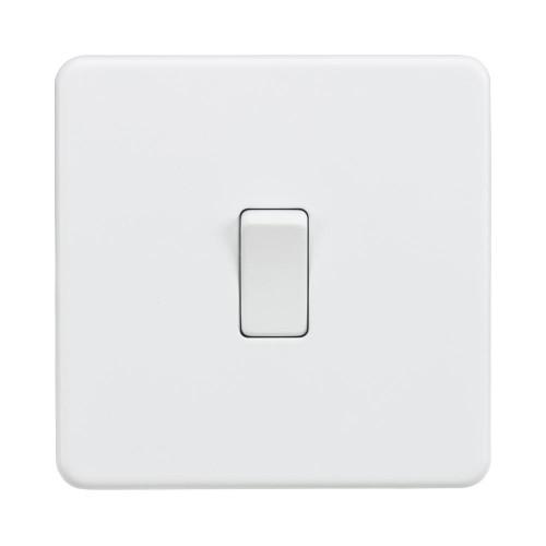 1 Gang Intermediate 10A Single Switch Screwless Matt White Flat Metal Plate Knightsbridge SF1200MW