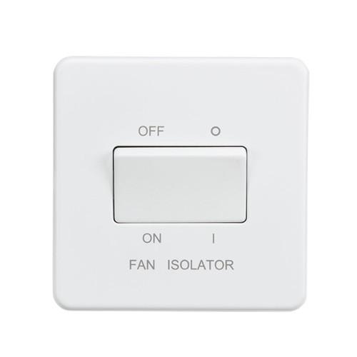 1 Gang 10A 3 Pole Fan Isolator Switch Screwless Matt White Flat Metal Plate Knightsbridge SF1100MW