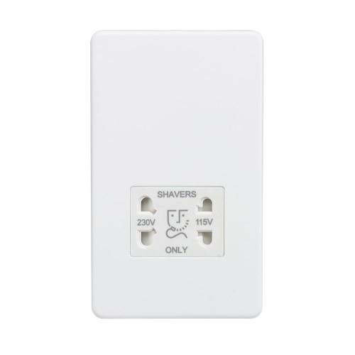 Dual Voltage 115/230V Shaver Socket Screwless Matt White Flat Metal Plate Knightsbridge SF8900MW