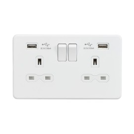 2 Gang 13A Switched Socket with Dual USB Charger 5V 2.1A Screwless Matt White Flat Metal Plate Knightsbridge SFR9902MW