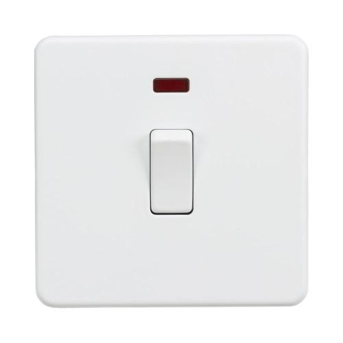 1 Gang 20A DP Switch with Neon on a Screwless Matt White Flat Metal Plate Knightsbridge SF8341NMW