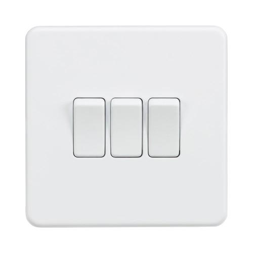3 Gang 2 Way 10A Triple Switch Screwless Matt White Flat Metal Plate Knightsbridge SF4000MW