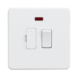 1 Gang 13A Switched Spur with Neon Indicator Screwless Matt White Flat Metal Plate Knightsbridge SF6300NMW