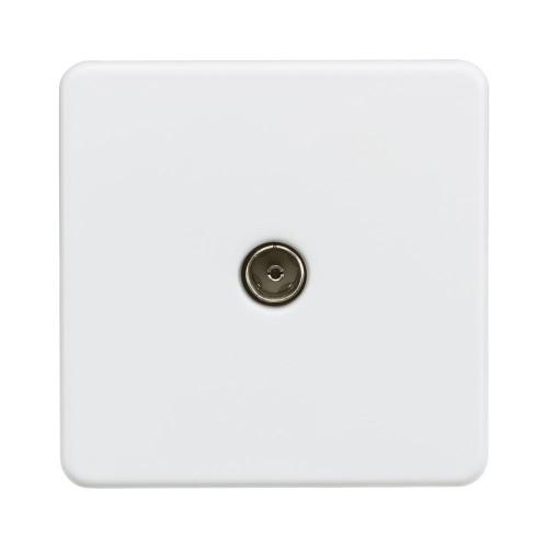 1 Gang Coax TV Socket Non-Isolated Screwless Matt White Flat Metal Plate Knightsbridge SF0100MW