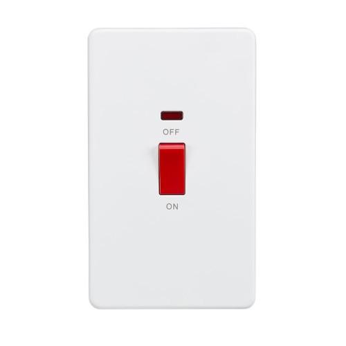 45A Oblong Red Rocker Cooker Switch with Neon Screwless Matt White Flat Metal Plate Knightsbridge SF8332NMW