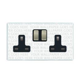 2 Gang 13A DP Switched Double Socket Screwless Transparent Plate with Metal Rocker Perception CFX PC SS2 - Specify Finish when Ordering