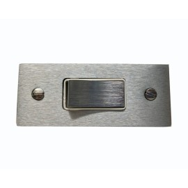 1 Gang 2 Way 10A Architrave Switch in Victorian Satin Chrome White Trim, Plain edge, Harmony Grid