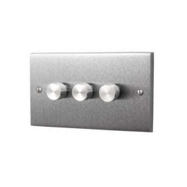 3 Gang 2 Way 400W Push On/Off Rotary Dimmer Switch Victorian Satin Chrome Plain Edge Raised Plate
