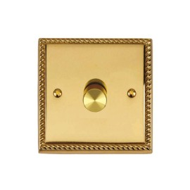 1 Gang 2 Way 400W Push On/Off Rotary Dimmer Switch Georgian Polished Brass Rope Edge Raised Plate