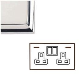 2 Gang 13A Socket with 2 USB Sockets Edwardian Polished Chrome Raised Plate Stepped Edge Black Trim