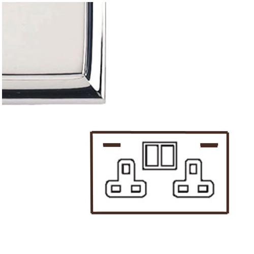 2 Gang 13A Socket with 2 USB Sockets Edwardian Polished Chrome Raised Plate Stepped Edge White Trim