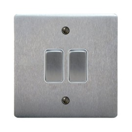 2 Gang 2 Way 10A Rocker Grid Switch in Satin Chrome and White Plastic Trim Stylist Grid Flat Plate