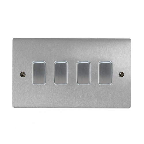 4 Gang 2 Way 10A Rocker Grid Switch in Satin Chrome and White Plastic Trim Stylist Grid Flat Plate