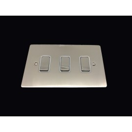 3 Gang 2 Way 10A Rocker Grid Switch in Satin Nickel Brushed and White Plastic Trim Stylist Grid Flat Plate