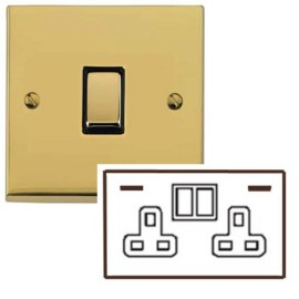2 Gang 13A Socket with 2 USB Sockets Low Profile Polished Brass Plate and Rockers with Black Plastic Trim Richmond Elite