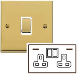 2 Gang 13A Socket with 2 USB Sockets Low Profile Polished Brass Plate and Rockers with White Plastic Trim Richmond Elite