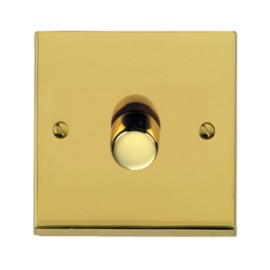 1 Gang Push ON/OFF Dimmer Switch 400W in Polished Brass Low Profile Plate, Richmond Elite