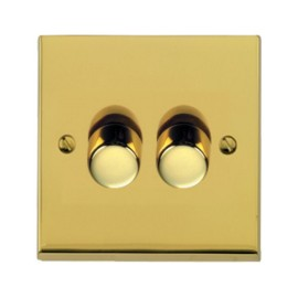 2 Gang Push ON/OFF Dimmer Switch 400W in Polished Brass Low Profile Plate, Richmond Elite