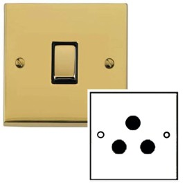 1 Gang 5A Unswitched 3 Pin Socket in Polished Brass Low Profile Plate and Black Trim, Richmond Elite