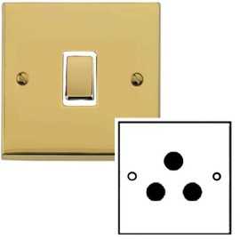 1 Gang 5A Unswitched 3 Pin Socket in Polished Brass Low Profile Plate and White Trim, Richmond Elite