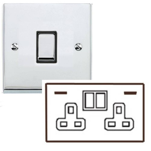 2 Gang 13A Socket with 2 USB Sockets Low Profile Polished Chrome Plate and Rockers with Black Plastic Insert Richmond Elite