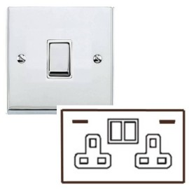 2 Gang 13A Socket with 2 USB Sockets Low Profile Polished Chrome Plate and Rockers with White Plastic Insert Richmond Elite