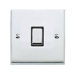 1 Gang 2 Way 10A Switch in Polished Chrome Low Profile Plate and Black Trim, Richmond Elite