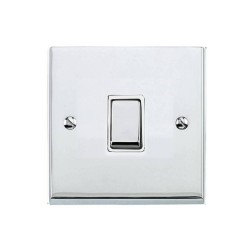 1 Gang 2 Way 10A Switch in Polished Chrome Low Profile Plate and White Trim, Richmond Elite