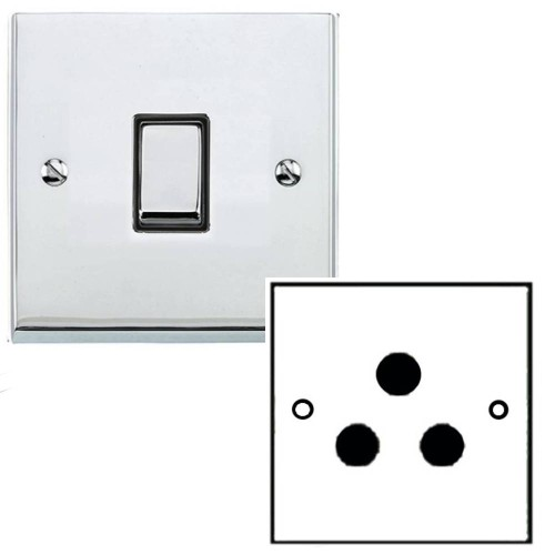 1 Gang 5A Unswitched 3 Pin Socket in Polished Chrome Low Profile Plate and Black Trim, Richmond Elite