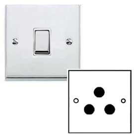 1 Gang 5A Unswitched 3 Pin Socket in Polished Chrome Low Profile Plate and White Trim, Richmond Elite