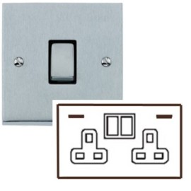 2 Gang 13A Socket with 2 USB Sockets Low Profile Satin Chrome Plate and Rockers with Black Plastic Insert Richmond Elite