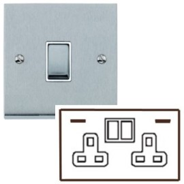 2 Gang 13A Socket with 2 USB Sockets Low Profile Satin Chrome Plate and Rockers with White Plastic Insert Richmond Elite