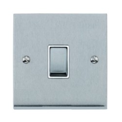 1 Gang 2 Way 10A Switch in Satin Chrome Low Profile Plate and White Trim, Richmond Elite