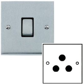 1 Gang 5A Unswitched 3 Pin Socket in Satin Chrome Low Profile Plate and Black Trim, Richmond Elite